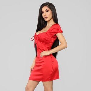 ✨SOLD✨Satin Red Dress Fashion Nova Brand New
